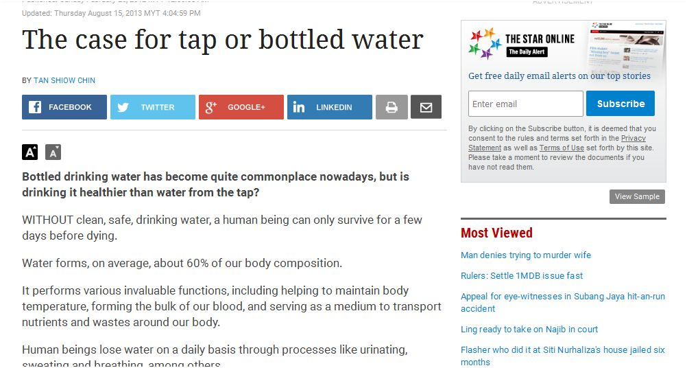 Diamond Coral Malaysia: Is tap water SAFE to drink in Malaysia?
