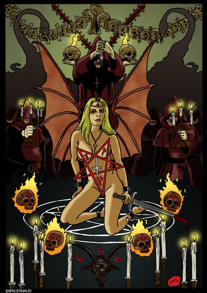 """Ma dernière illustration représente la chanteuse Jinx Dawson du groupe COVEN, un groupe de rock américain formé en 1969.  Pour en savoir plus, c'est l'un des premiers groupes sataniques. Leur premier album, leur chef-d'oeuvre : """"Witchcraft Destroys Minds & Reaps Souls"""" (1969) est un album psychédélique et surtout sataniste où l'on peut entendre des messes noires. Autre curiosité c'est que l'une de leur chanson s'appelle Black Sabbath mais rien avoir avec la chanson du groupe du même nom. Et à la différence c'est que COVEN est un mystérieux groupe qui prenait le satanisme très au sérieux.  Pour en revenir au dessin, pour le modèle de Jinx Dawson, je me suis inspiré de la pochette d'album """"Goth queen, Out of the vault"""" (2007), un album demo avec un morceau que j'adore """"Black Swan"""", le premier morceau que j'ai écouté de ce groupe à l'époque où je les ai découvert sur Myspace parce que ça sonne très hard Rock grâce au riff."""