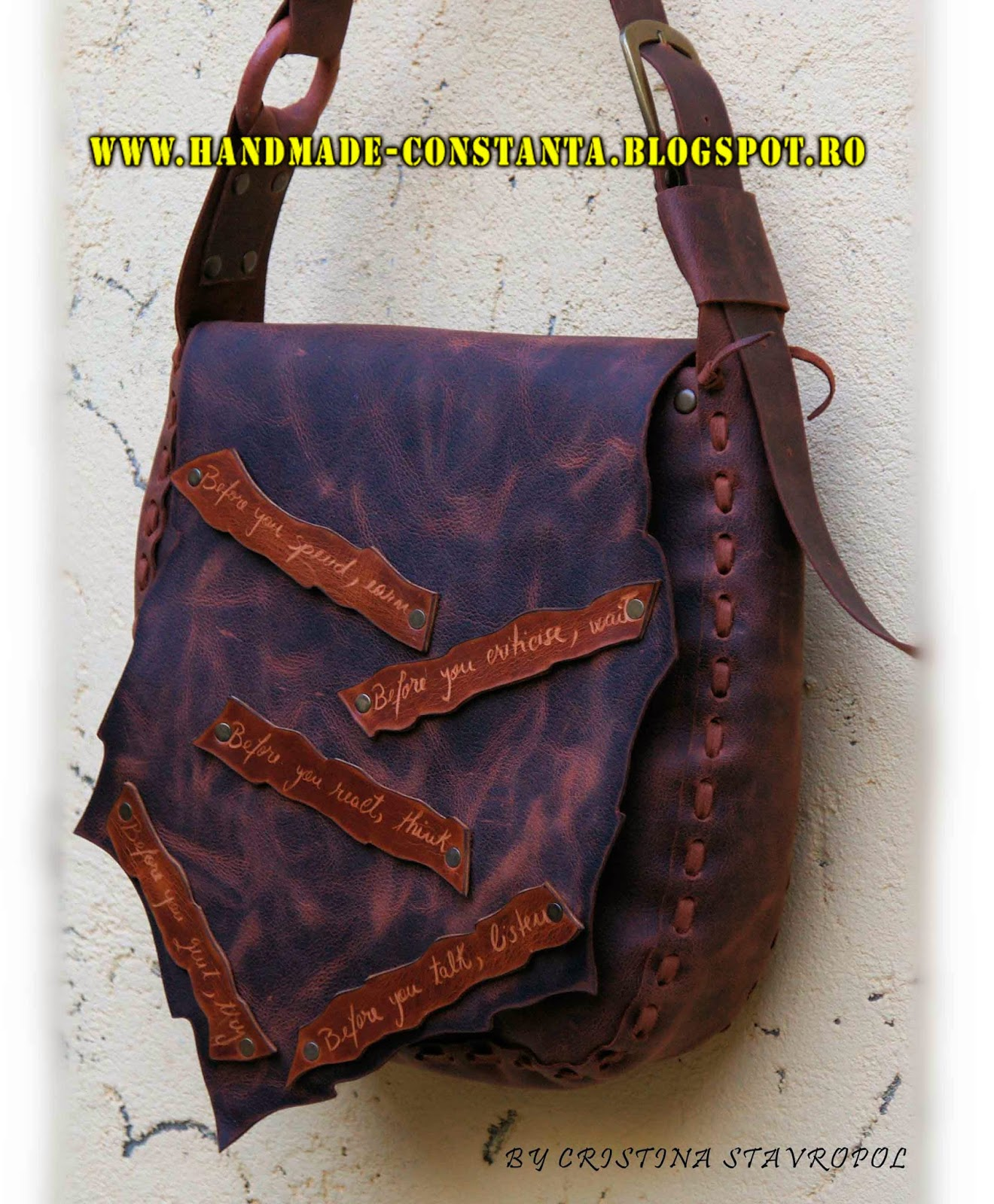 Bag - brown vintage leather.