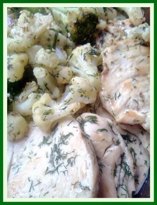 piletina s prilogom od karfiola i brokolija