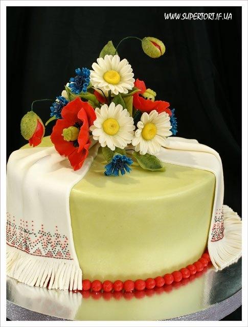 Торт для весілля в українському стилі, одноярусний