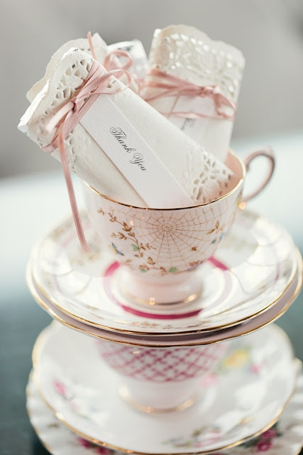 Mother's Day tea party doily wrapped favors