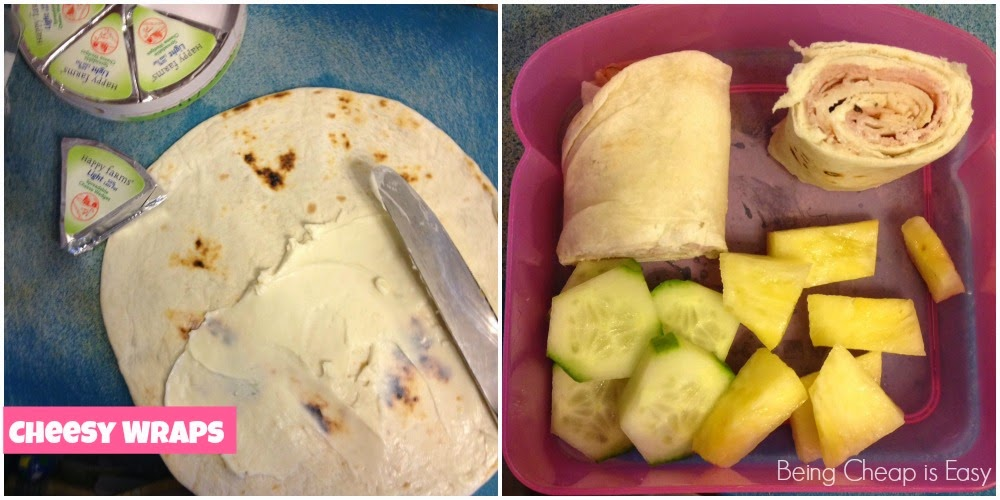 Lunchbox ideas, wraps, laughing cow wedges