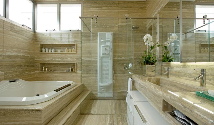 Construindo Minha Casa Clean Diferença Mármore x Granito x Marmoglass x Nano -> Cuba Banheiro Travertino