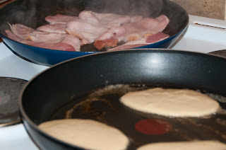 American pancakes and bacon