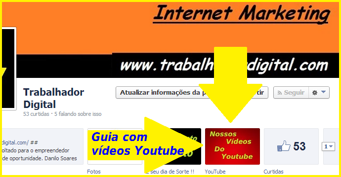 guia com vídeos do youtube na fanpage