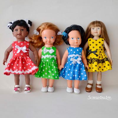 платье для куклы в горошек
