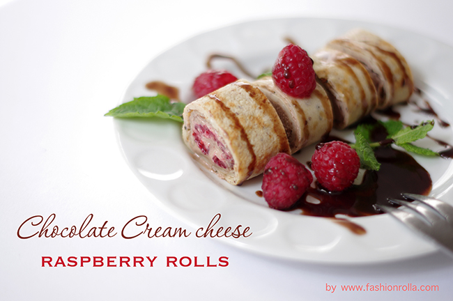 Chocolate Cream Cheese Raspberry Rolls recipe by Xenia Kuhn for www.fashionrolla.com