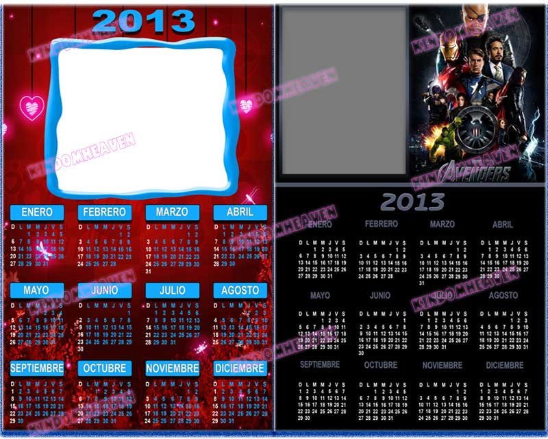 calendarios psd 2013 infantiles romanticos amor parejas the avengers los vengadores