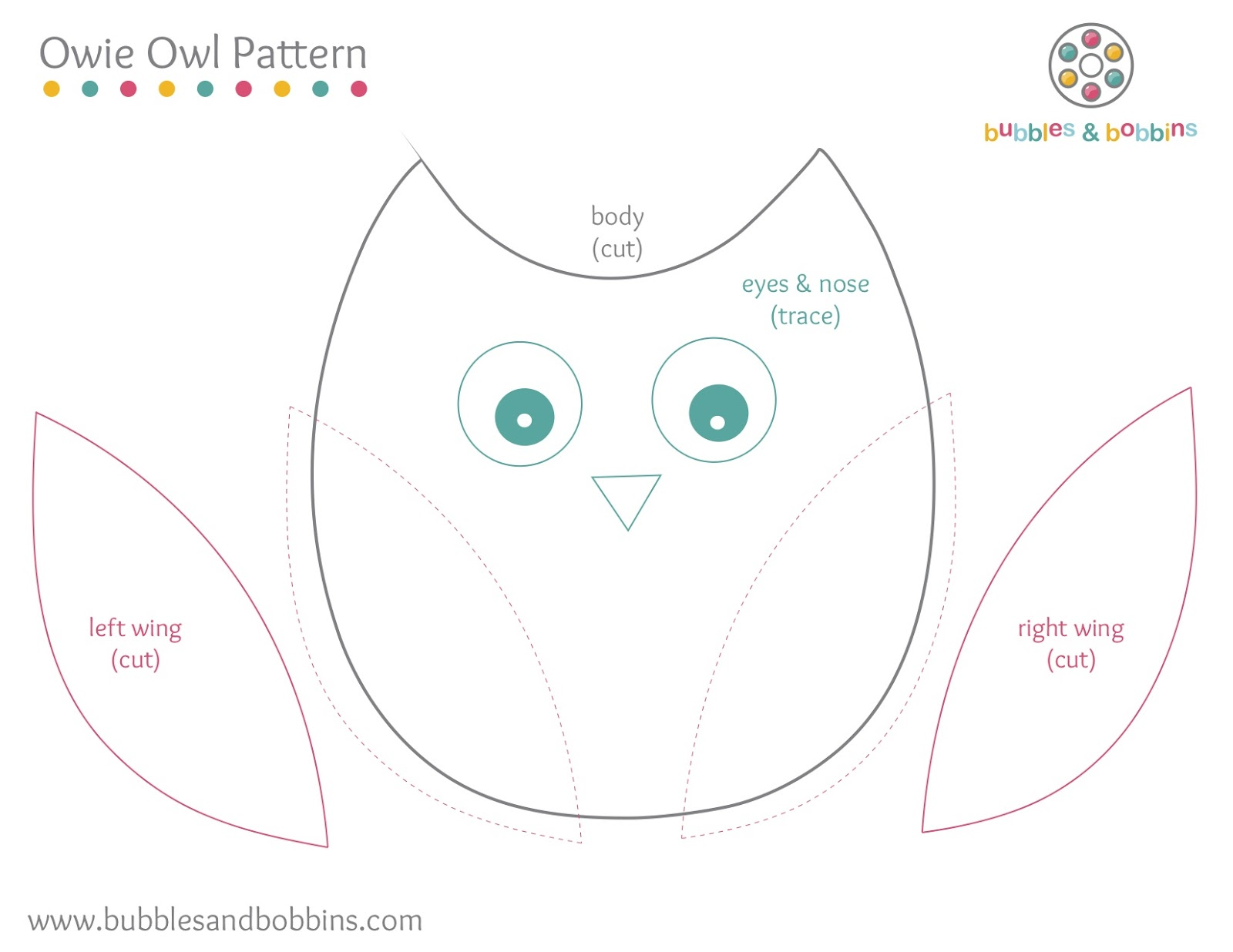 1 print out pattern click here for pdf for Owl templates for sewing