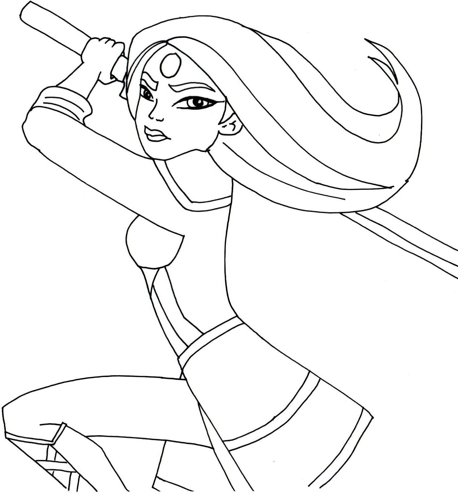 katana coloring page free printable super hero high coloring pages katana