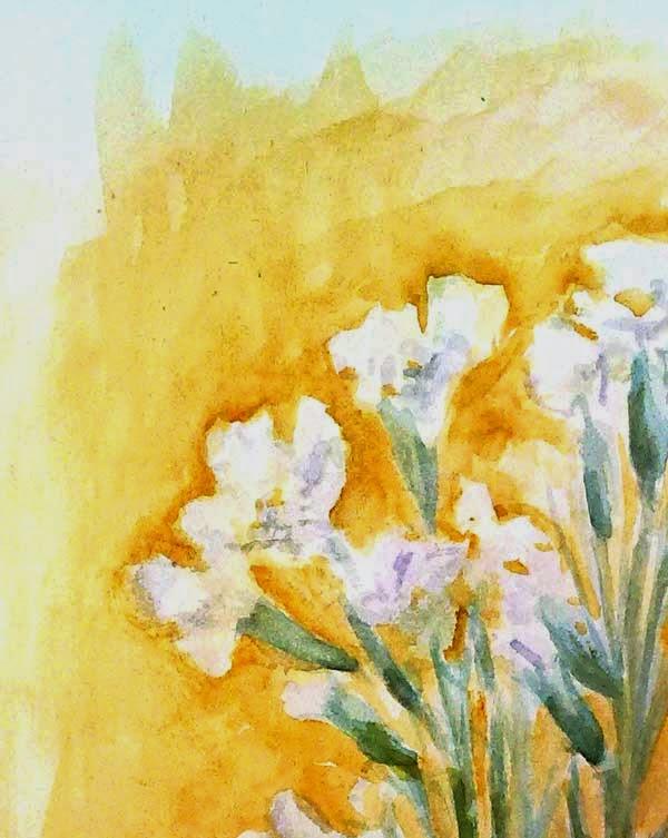detalle de las flores blancas pintadas con acuarela