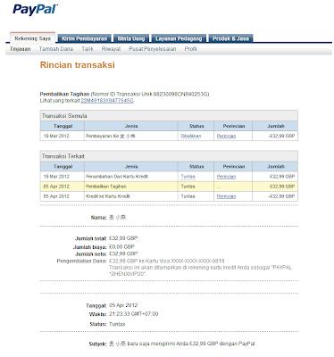 Rincian Transaksi Refund PayPal