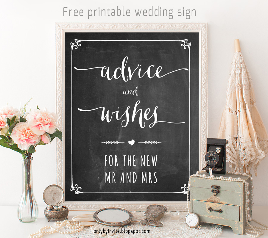 Crazy image inside free printable wedding signs