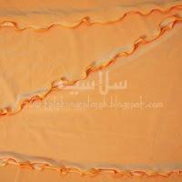 Telekung lycra oren pastel corak curly di tepi