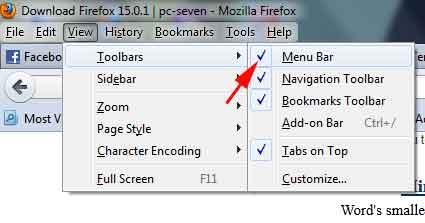 Cara menyembunyikan menu bar di firefox