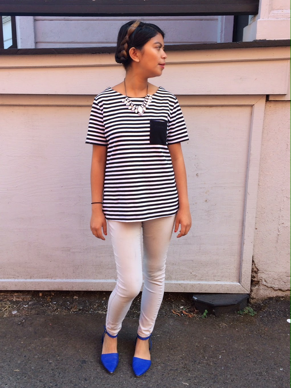 old navy striped shirt, black and white shirt, striped shirt, old navy, gray jeans, cobalt blue flats, outfit of the day, fashion blogger, portland blogger, affordable fashion, i'm on a budget