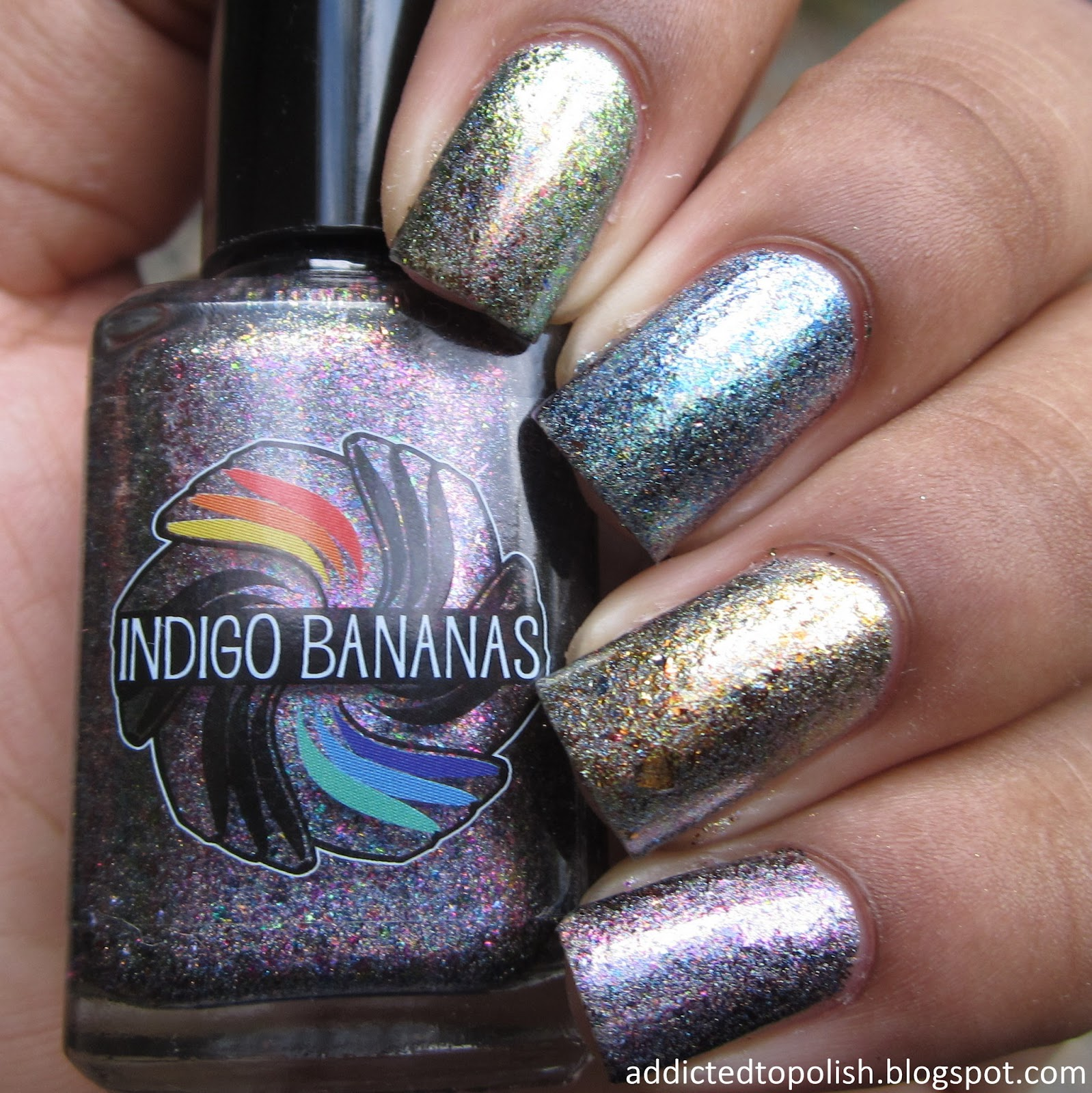Indigo Bananas Holo Chrome Flakie Comparison