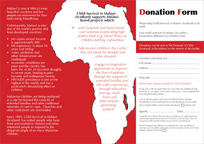 Child Survival in Malawi Scotland leaflet spread 2007