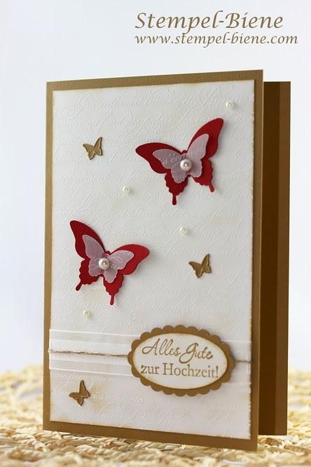 Stampin' Up Hochzeitskarte, En Francais, Stanze eleganter Schmetterling, Stanze Mini-Schmetterling, Zum schönsten Tag im Leben, Stampin Up bestellen, Stampin Up Stempelbarty buchen, Stempel-Biene