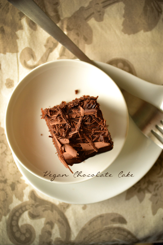 vegan chocolate cake with grated chocolate