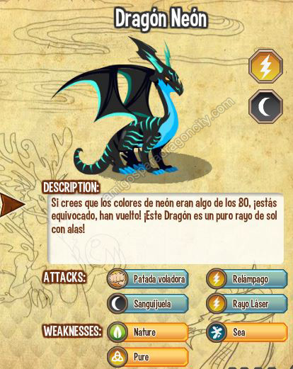 imagen del dragon neon y sus caracteristicas