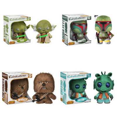 Star Wars Fabrikations Plush Figures by Funko - Yoda, Boba Fett, Chewbacca & Greedo