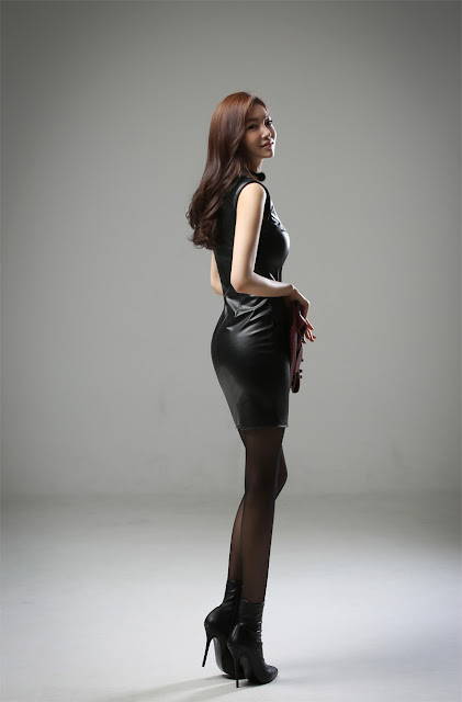 3 Jung Yun - Leather Dress - very cute asian girl-girlcute4u.blogspot.com
