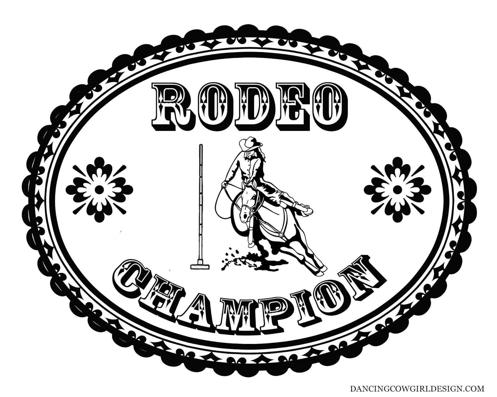 Rodeo Coloring Pages Coloring Sheet Cowgirl Rodeo Pole