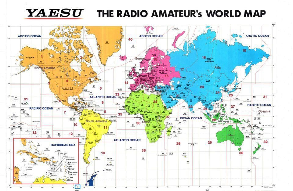 icom amateur radio world prefix map