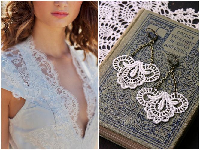 lace wedding dress joan shum lace earrings white owl
