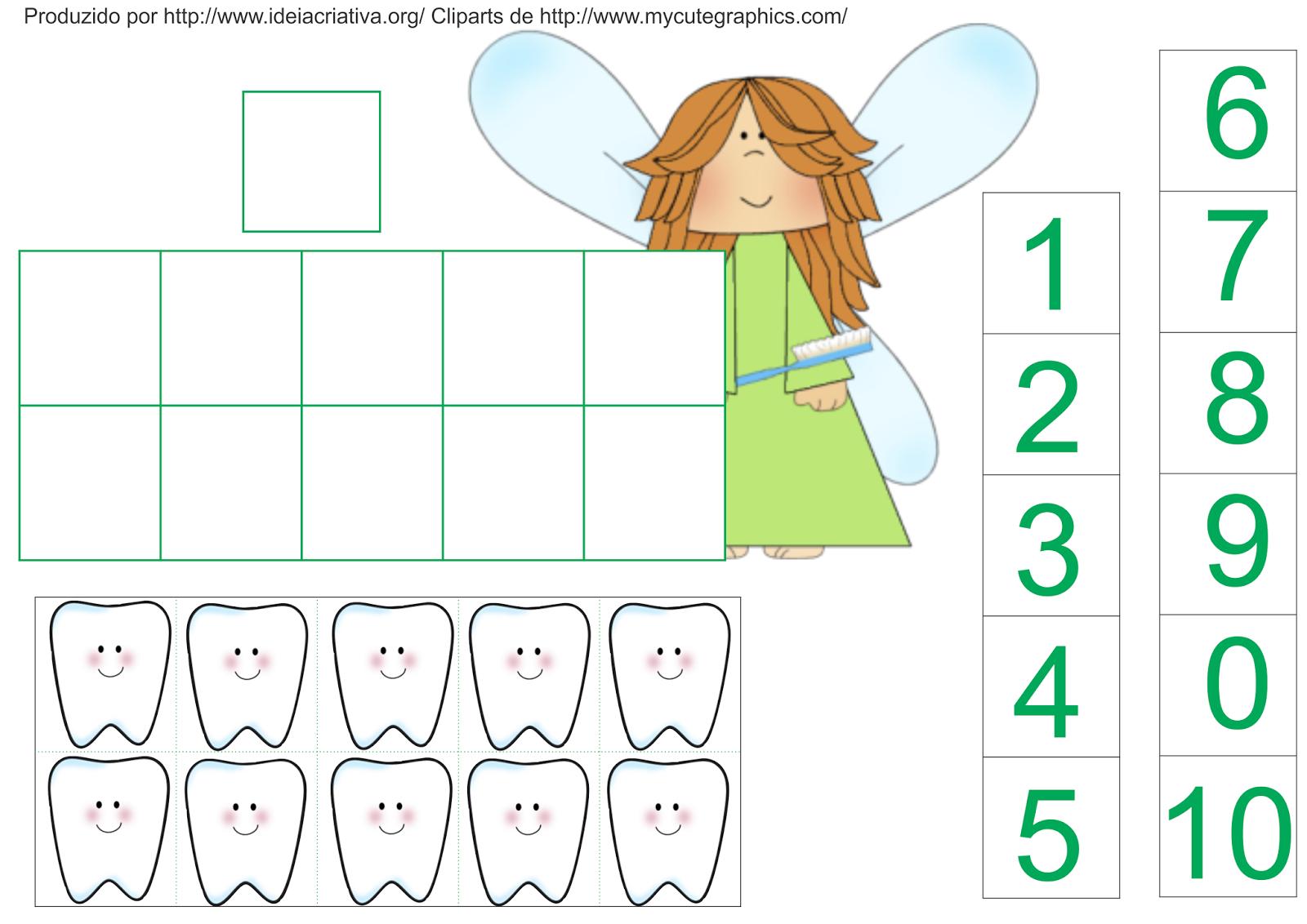 Atividade Matemática Fada do Dente Educação Infantil Quadro de dez