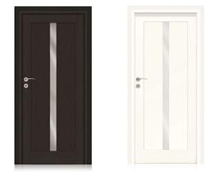 Drzwi z wąską szybką