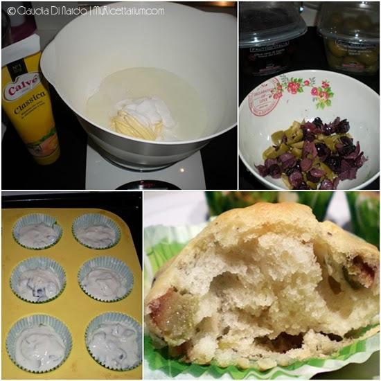 Muffin con maionese, olive e rosmarino