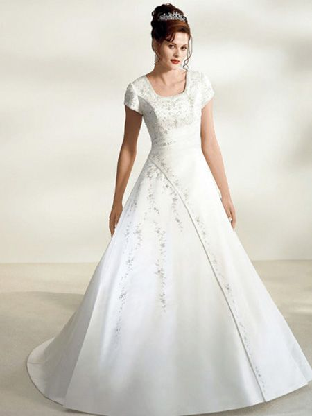 Bw10953 modest wedding gown short sleeves for Short wedding dress sleeves