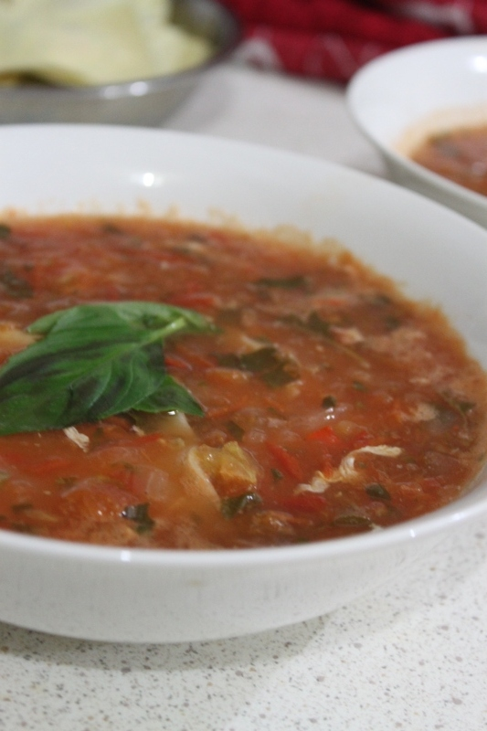 ... tomato and basil soup. The tangy taste of tomatoes and smooth basil