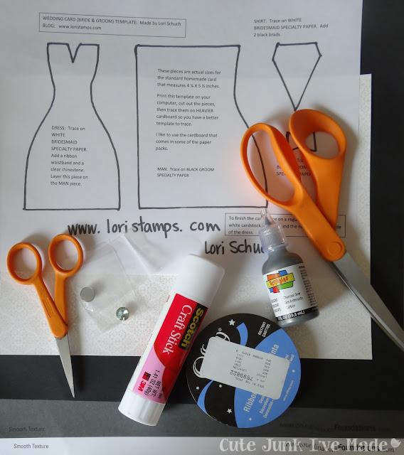Homemade Wedding Card - scissors, template, ribbon glue stick, puff paint