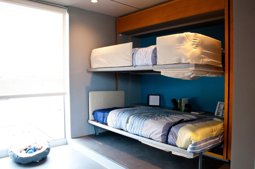 two beds pull out of a 12 inch storage space from resource furniture.