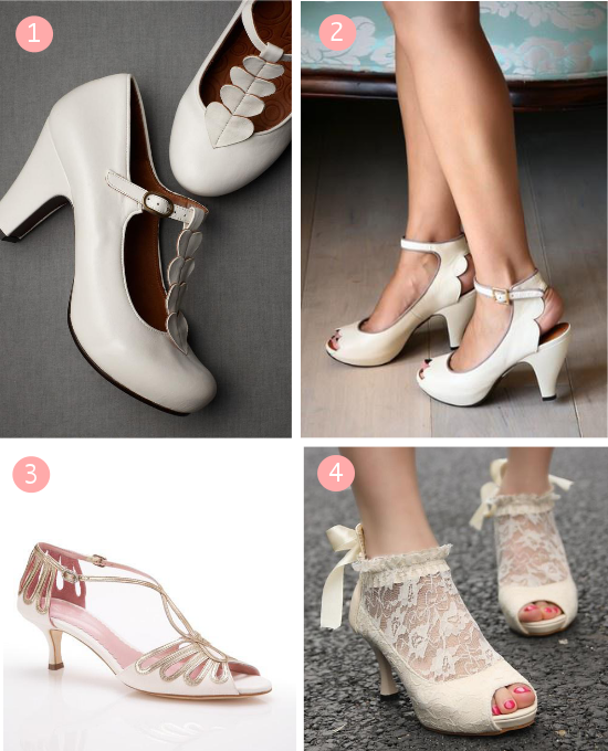 Scarpe da sposa Vintage, BHLDN, Emmy London, pizzo