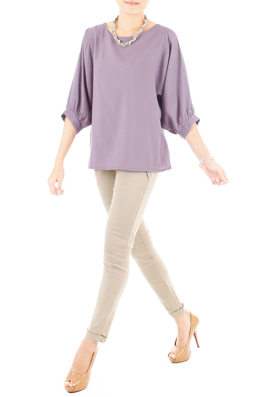 Dolman Back Button Blouse - Lavender