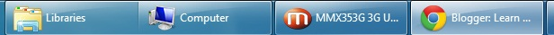 Windows xp style taskbar with large icon