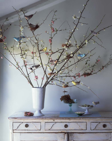 I Adore This Rendition Of The Stereotypical Easter Tree. Birds Replace  Hanging Eggs And The Blooming Branches Are Natural And Unforced Instead Of  Contrived ...