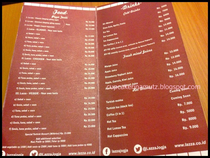 Kuliner jogja lazza pizza turki rina chabbymutz for Z kitchen jogja menu