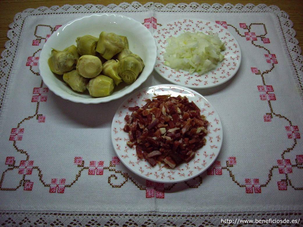 Ingredientes para la receta de las alcachofas con jamón en salsa