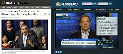 "image composed of two screen shots from Reuters article ""Obama urges American's not be discouraged by rocky healthcare rollout"" and CNBC onlive video interview of GoHealthInsurance CEO Clint Jones ""Bypass Heathcare.gov to enroll in Obamacare""."