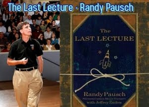 Randy Pausch and a plaque with the last lecture on it