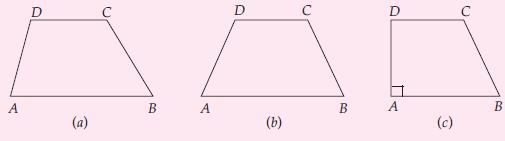 Jenis-jenis trapesium (a) sembarang, (b) sama kaki, dan (c) siku-siku