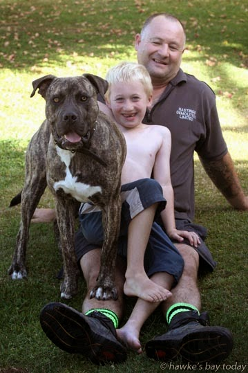 Graeme Hall, Hastings, with his son Preston Hall, 6, and Buddy, a mastiff cross dog they got from the Adopt-a-Pet campaign run by the Hastings SPCA. photograph