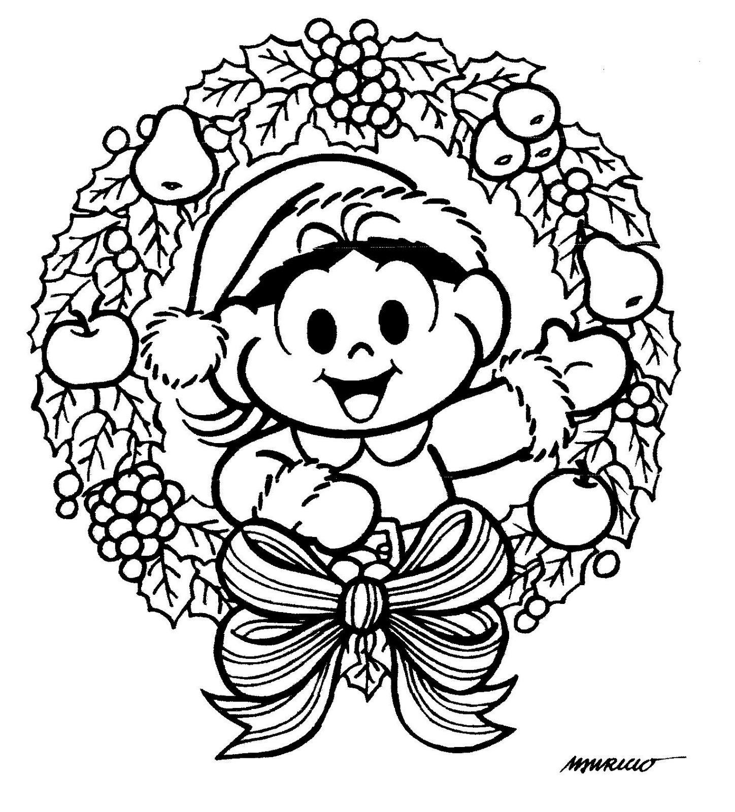 a desenhar festa de natal da turma da monica colorir