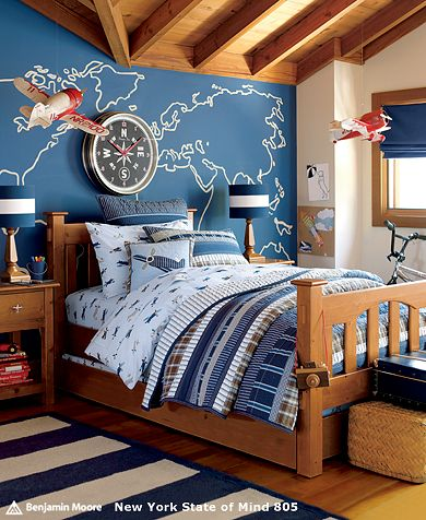Airplane themed boys room boy room ideas for Boys nautical bedroom ideas